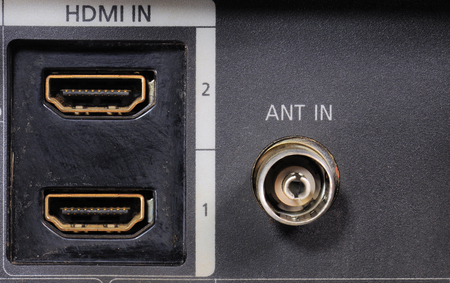Close-up view on a digital video recorder on the part connectors. Video audio input.  Selective focus.