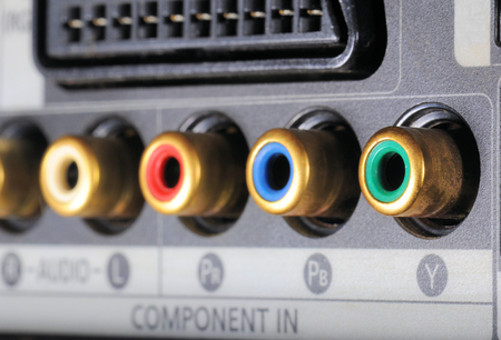 hdmi: Close-up view on a digital video recorder on the part connectors. Video audio input.  Selective focus.