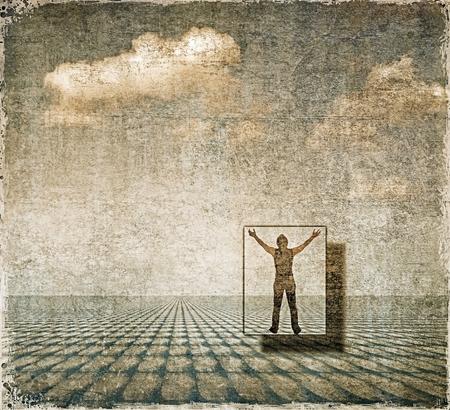 Paesaggio surreale con figura di uomo piccolo Archivio Fotografico