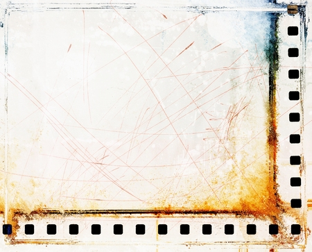 Vintage scratched film strip borders Archivio Fotografico