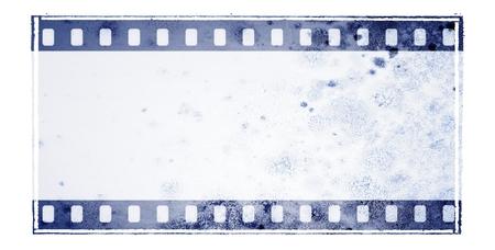 Struttura della striscia di pellicola blu dell'annata con la superficie della parete muscolare Archivio Fotografico