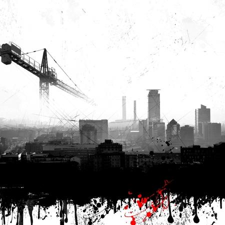 Grunge city skyline with crane