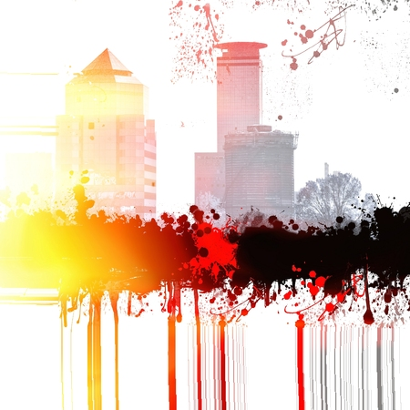 Grunge city skyline Archivio Fotografico