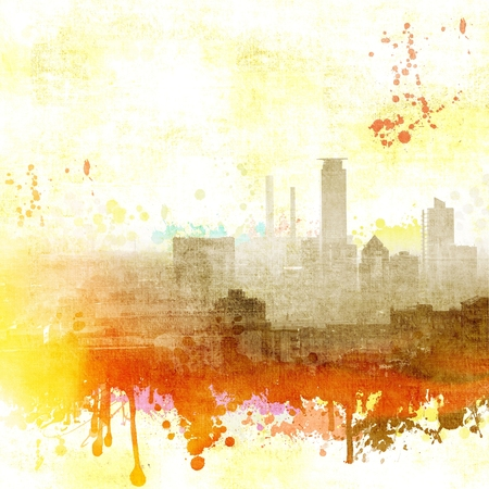 Grunge city skyline in white, red and yellow tones. Archivio Fotografico