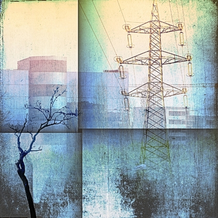 Fantasy architecture skyline with building, pylon and bare trees in blue tones.