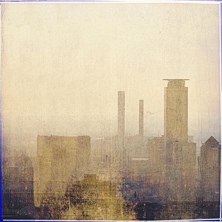 Vintage city skyline in sepia tones