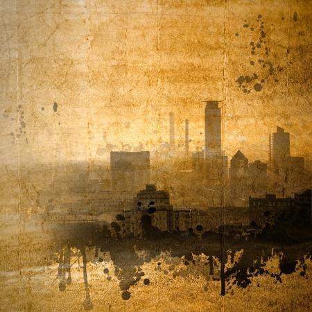 Orizzonte della città dell'annata nei toni seppia Archivio Fotografico