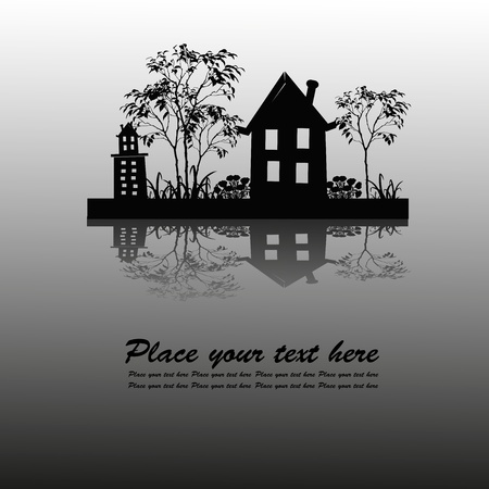 Black outline of houses and plants Vector