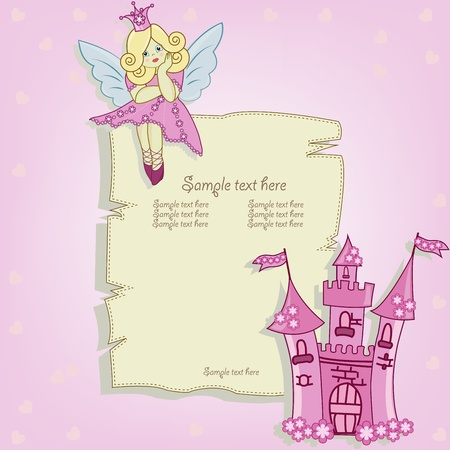 fairy cartoon: Illustration card for little princess Illustration