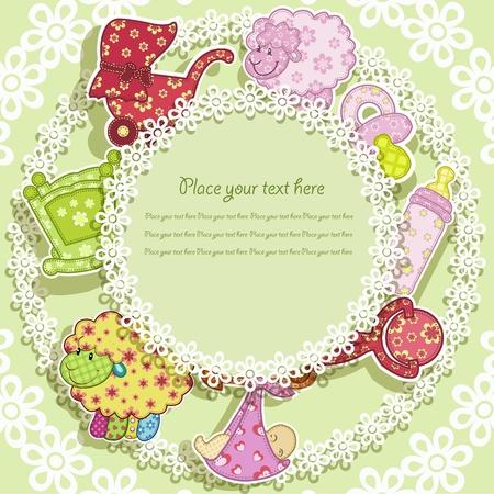 grzechotka: Zestaw dla dziecka na zielonym tle z kwiatami Ilustracja