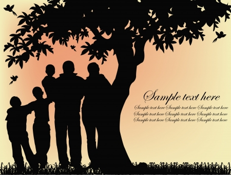 bird tree: Black silhouette of people and tree on a yellow background