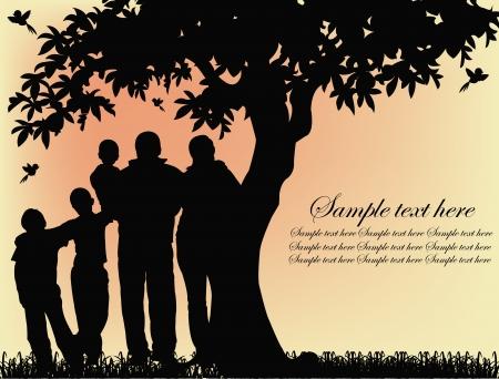 family clipart: Sagoma nera delle persone e di alberi su uno sfondo giallo