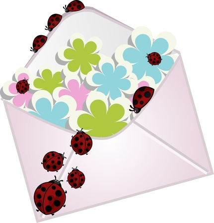 The letter with a flowers and ladybugs Stock Vector - 13270183