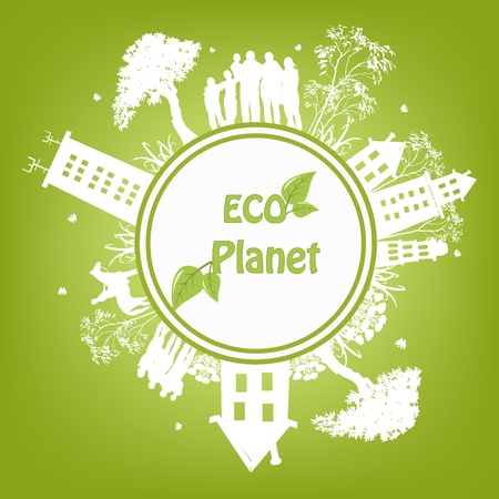 eco energy: Green ecological planet Illustration