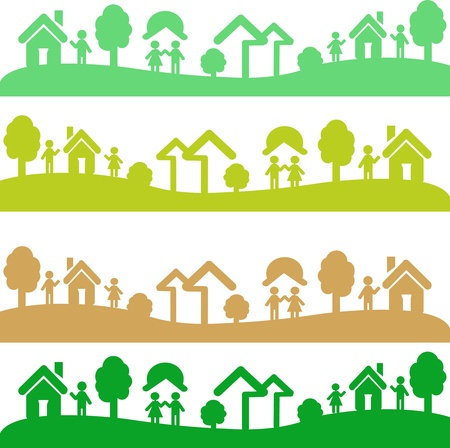 Four shots with elements of ecology, houses of people Vector
