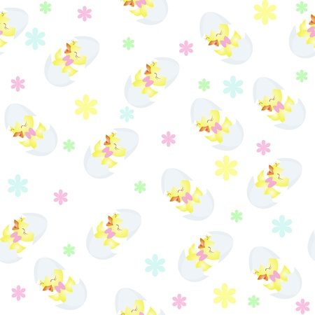 Wall-paper from chickens, a flowers on a white background Vector