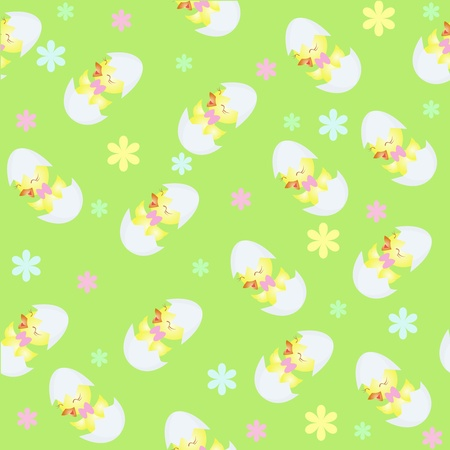Wall-paper from chickens, a flowers on a green background Vector