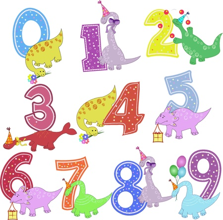 six objects: Set of color figures with dinosaurs