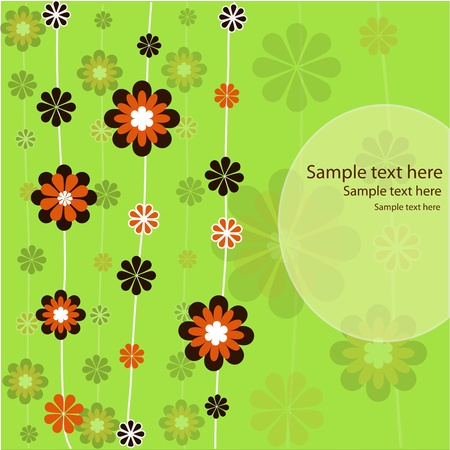 Brown and orange flowers on a green background Vector