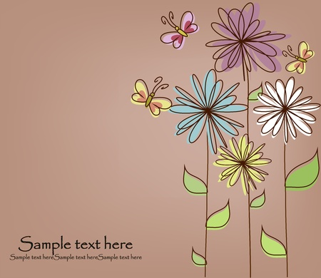 whimsical: Multicolored flowers and butterflies on a brown background