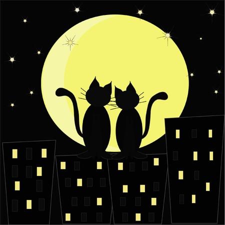 silueta de gato: Siluetas de dos gatos enamorados en contra de la ciudad de la noche y la luna
