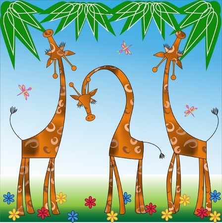 Giraffes on a glade Vector