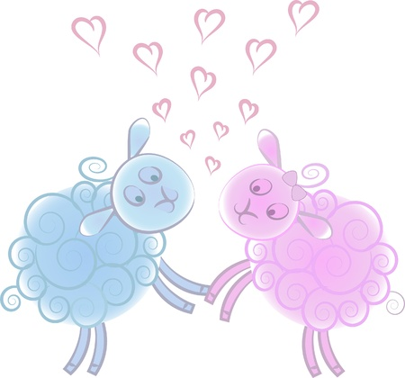 Lovers blue and pink lambs on a white background Vector
