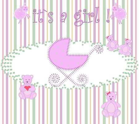 Pink carriage with bears Vector