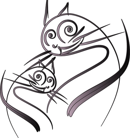 Two cats on a white background Vector