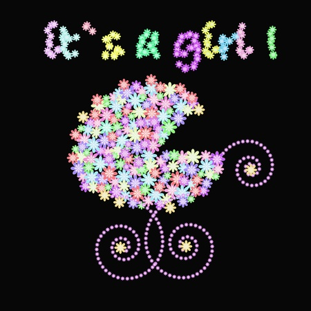 newborn baby girl: Carriage with colors on a black background