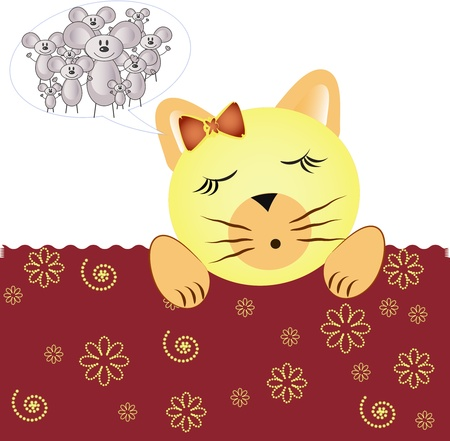 Cat sleeps under the blanket to her dream of mice Stock Vector - 13270270