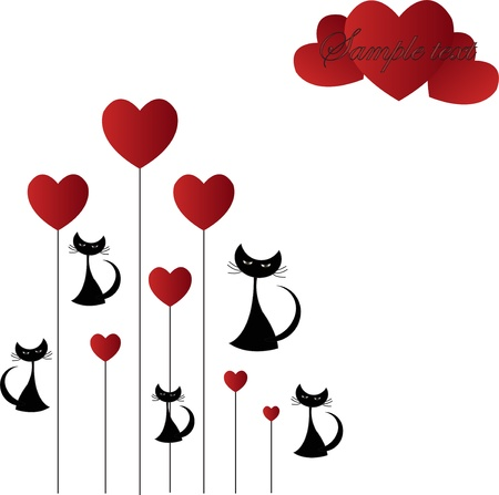 black cat silhouette: Black cat with hearts on a white background