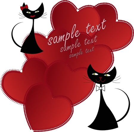 Love black cats with hearts on a white background Vector