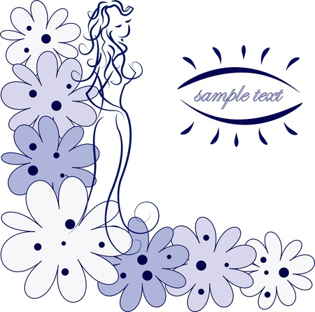 Outline of the girl in blue colors on a white background Vector