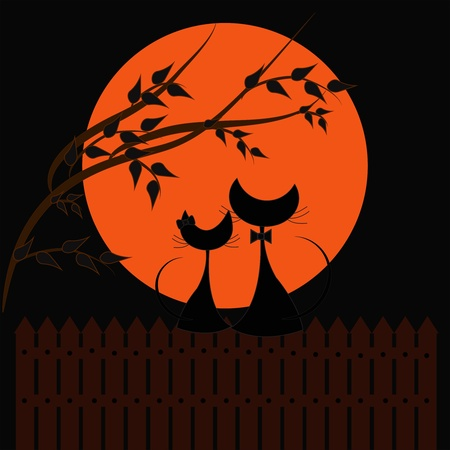 Dos gatos negros en contra de la naranja la luna
