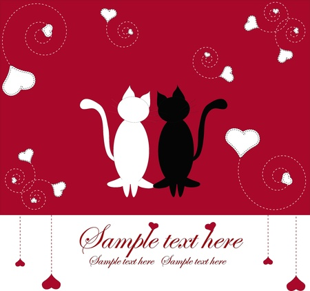 Two cats with hearts on a red background Vector