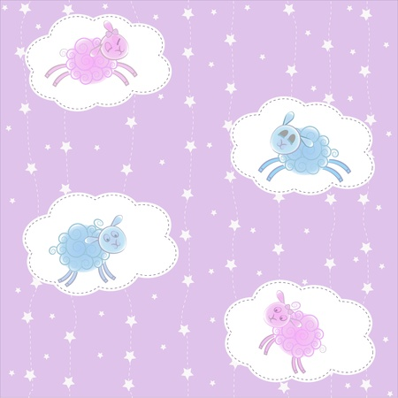 Lambs on clouds on a violet background with stars Vector