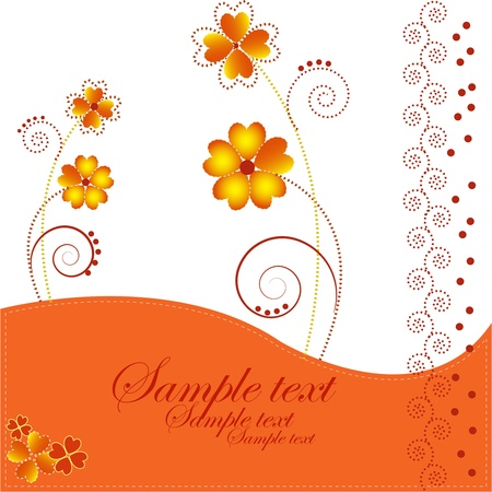Bright flowers with curls on a white and orange background