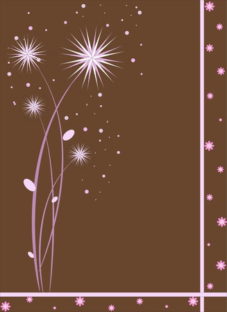 Abstract pink flowers and lines on a brown background Vector
