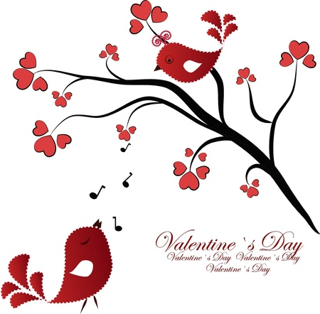 birds in tree: Enamoured red birdies on a branch with hearts on a white background