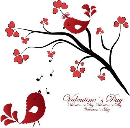 boom met vogels: Enamoured rode vogeltjes op een tak met hartjes op een witte achtergrond