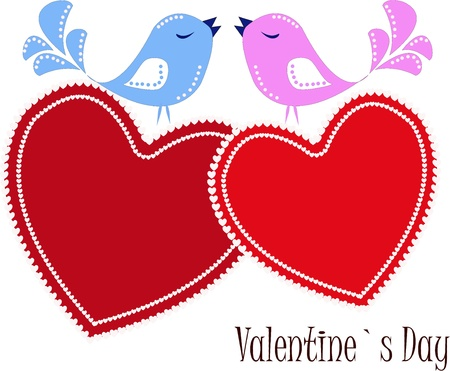 cartoon birds: Two enamoured birdies on red hearts