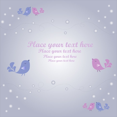 Multi-colored birdies on a blue background Vector