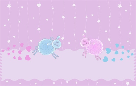 Lambs on clouds on a violet background with stars and hearts Vector