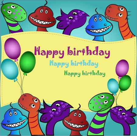 Multi-colored bright ridiculous dinosaurs on a blue background with balloons Vector