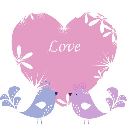 Two enamoured birdies on pink heart Vector