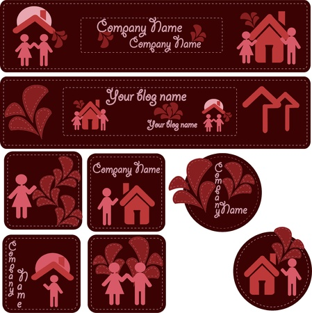 Emblems a logo. Icons of people of houses with colors on darkly red background Vector