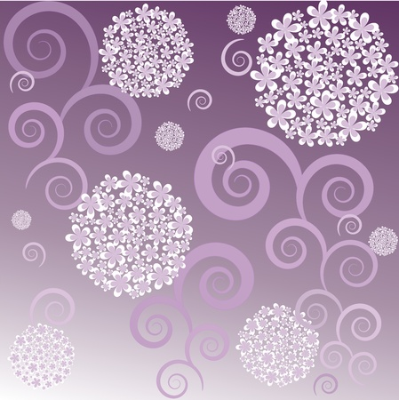 Abstraction from a flowers and curls in it is white violet tone Vector