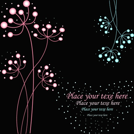 Pink and blue flowers on a black background Stock Vector - 13270213