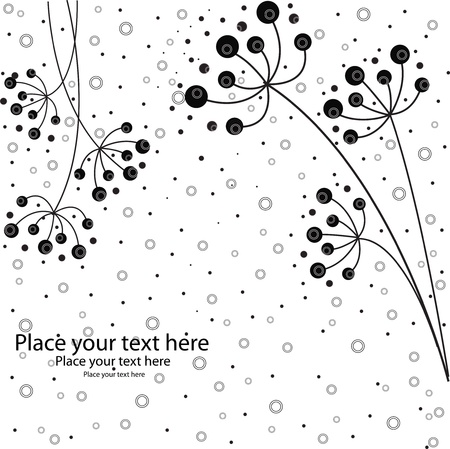 It is black white flowers on a white background with circles Vector
